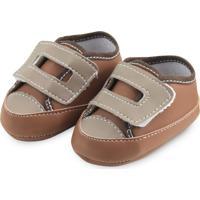 Sapato Bebê Soffete Velcro Marrom E Bege