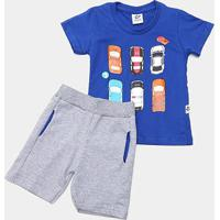 Conjunto Infantil Andritex Carros Masculino - Masculino-Azul Royal