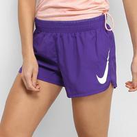 Short Nike Swoosh Run Feminino - Feminino-Roxo+Branco