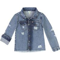 Jaqueta Jeans Com Puídos - Azul Clarohering