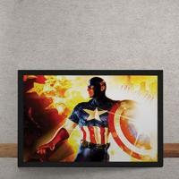 Quadro Decorativo Capitao America Marvel Fogo 25X35