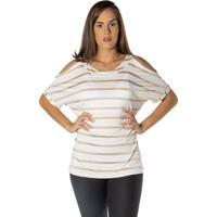 Blusa Listrada Com Ombro Vazado - Branco & Begedwz