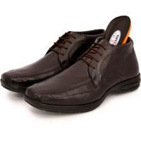 Sapato Social Bota Br2 Footwear Confort Gel Couro Marrom