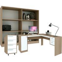 Conjunto De Escritório Em L Home Office Avelã E Branco