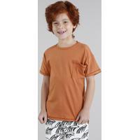 Camiseta Infantil Bento Prancha De Surf Com Bolso Manga Curta Gola Careca Laranja
