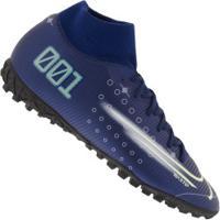 Chuteira Society Nike Mercurial Superfly 7 Academy Mds Tf - Adulto - Azul Escuro