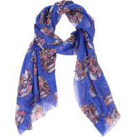 Lenço Real Arte Caveira E Flores Azul