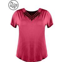 Blusa Outlet Dri Plus Size Trançado Frente Bordado Perolado Rosa