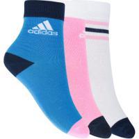 Kit De Meias Adidas Ankle Com 3 Pares - Infantil - Rosa/Azul