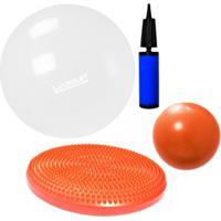 Kit Disco De Equilibrio + Bola 65 Cm Com Mini Bomba + Overball 25 Cm Liveup - Unissex