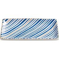 Mini Prato Retangular Listras- Branco & Azul Escuro-Mart