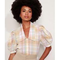 Camisa Feminina Mindset Estampada Xadrez Manga Bufante Decote Profundo Multicor