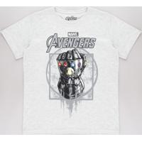 Camiseta Infantil Manopla Do Universo Os Vingadores Manga Curta Cinza Mescla Claro