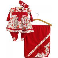 Saída Maternidade Asas De Anjo Floral Vermelha