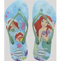 Chinelo Infantil Havaianas Slim Princess Pequena Sereia Ariel Branco