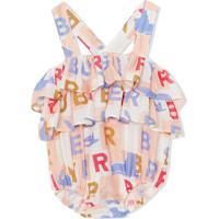 Burberry Kids Macacão Com Logo E Babado - Rosa
