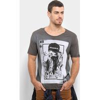 Camiseta Bossa Brasil Baralho Masculina - Masculino-Chumbo