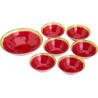 Jogo De Bowls Melancia Para Sobremesa- Vermelho & Verde
