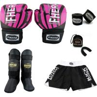 Kit Boxe Top -Luva Bandagem Bucal Caneleira Shorts - Elite Rosa - Fheras 14 Oz