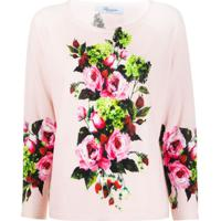Blumarine Blusa De Tricô Com Estampa Floral - Rosa