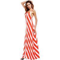 Vestido Longo Com Estampa Assimétrica De Alcinha - Vermelho