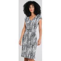 e03b18013 AMARO; Vestido Feminino Estampado Geométrico Com Faixa De Amarrar Off White