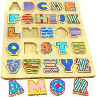 Tabuleiro Toptoy Brasil Alfabeto Letras Em Madeira 19 Amarelo