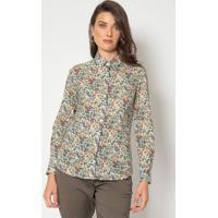 Camisa Com Botões - Off White & Verdedudalina