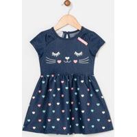 Vestido Infantil Em Jeans Estampas De Corações - Tam 1 A 4 Anos