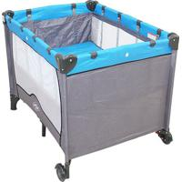 Berço Compacto - Cinza & Azul- 74X102X73Cm - Babbaby Style