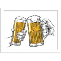 Quadro Decorativo Ein Prosit Bier Brinde Cerveja Branco - Grande