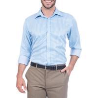 Camisa Colombos Social Azul Listrada