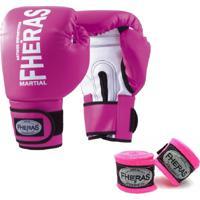 Kit Boxe Muay Thai Fheras New Top Luva + Bandagem Orion Rosa 003