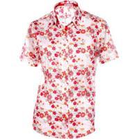 Camisa Pimenta Rosada Stella Floral - Feminino-Branco+Vermelho