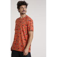 """Camiseta Masculina Estampada """"Aloha"""" Manga Curta Gola Careca Cobre"""