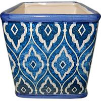 Cachepot Urban Home De Cerâmica Azul Tile Marrocan Grande N