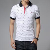 962f6d0e17734 Kit 2 Camisas Polo Masculino Estampado Slim Fit - Branco E Azul Marinho