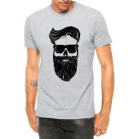 Camiseta Criativa Urbana Estilo Barbearia Homem Barba Óculos Cinza