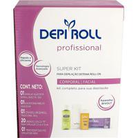 Depilador Depiroll Super Kit Com Aparelho Aquecedor Bivolt, Suporte Aparelho Aquecedor + Refil Cera Roll-On Tradicional 100G + Óleo Pós Depilatório 10