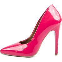 Scarpin Factor Salto Alto - Verniz Chiclete - Pink - Feminino - Dafiti