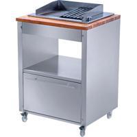 Balcão De Cozinha Skow Com Churrasqueira Elétrica 1 Gv Prata
