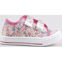Tênis Infantil Baby Club Estampado Floral Com Velcro Rosa Claro