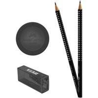 Conjunto 2 Lápis Preto - Nº 2B Com Borracha E Apontador - Ecolápis Grip Rosa - Faber-Castell