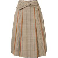 Tory Burch Plaid Print Pleated Skirt - Marrom