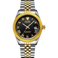 Relógio Tevise T629 Masculino Automático Pulseira De Aço - Preto E Ouro Rome
