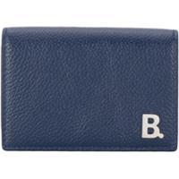 Balenciaga Mini B Leather Wallet - Azul
