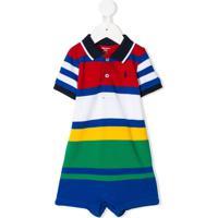 Ralph Lauren Kids Macaquinho Polo Listrado - Vermelho