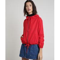 Jaqueta Corta Vento Feminina Com Capuz Vermelha