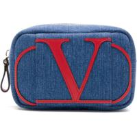 Valentino Necessaire Jeans Com Logo - Azul