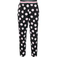 Love Moschino Baseball Print Cropped Trousers - Preto
